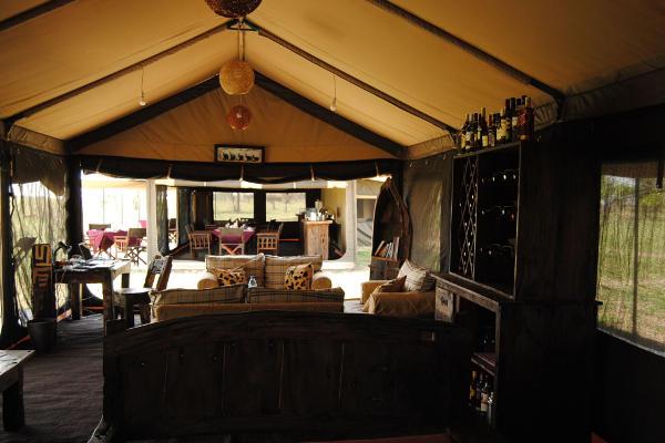 Inside mess tent Tanzania Bush Camp