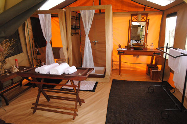 Inside tent Tanzania Bush Camp