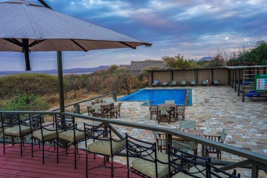 What the pool looks like at Lake Burunge Tented Lodge