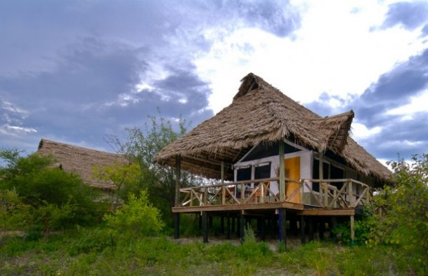 To see what the tents look like from the outside at Lake Burunge Tented Lodge