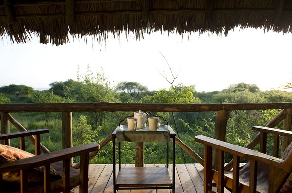 To see what the porch looks like at Lake Burunge Tented Lodge