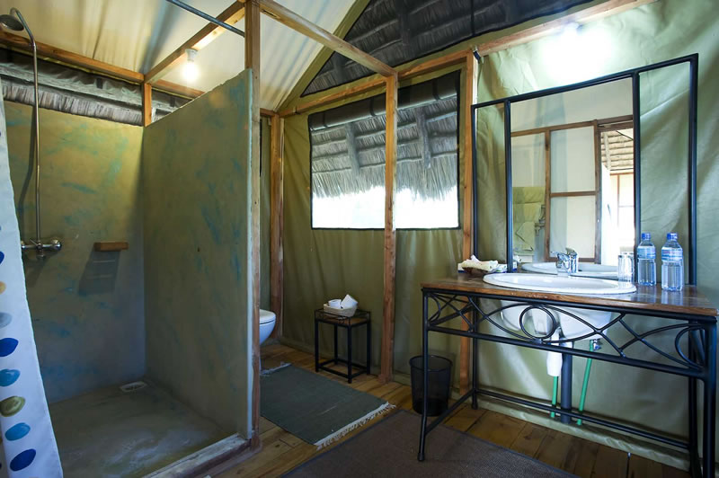 To see what the bathrooms look like at Lake Burunge Tented Lodge